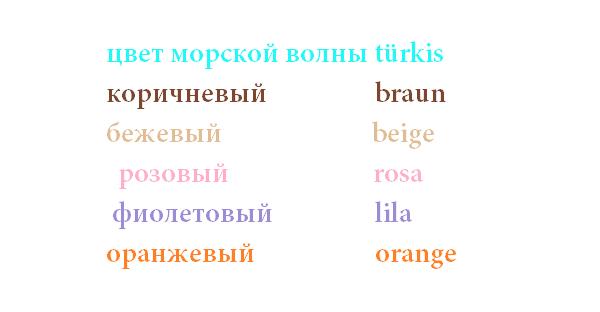 цвета на немецком языке
