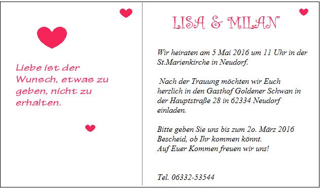 приглашение на свадьбу на немецком языке с переводом