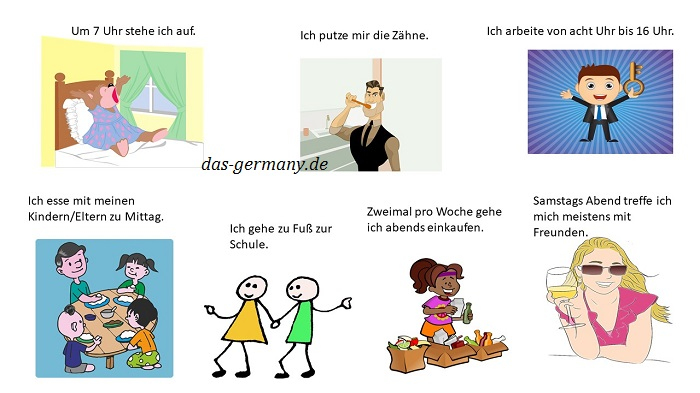 Мой день на немецком языке