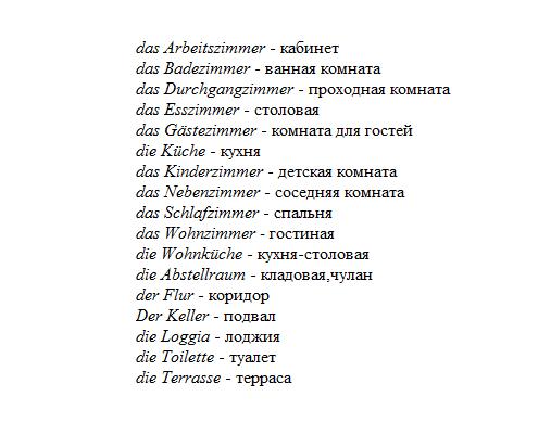 немецкий язык тема дом
