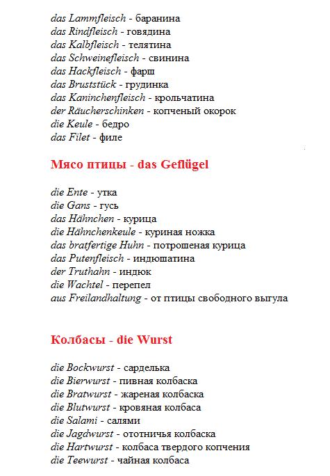 продукты на немецком языке